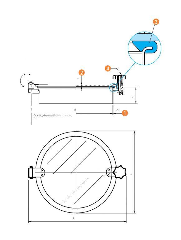 Kerek búvónyílás teljes nézőüveggel (6027V)