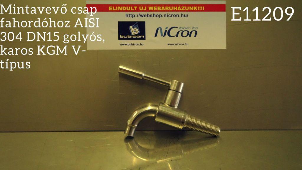 Mintavevő csap fahordóhoz AISI 304 DN15 golyós, karos KGM V-típus