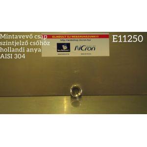 Hollandi anya mintavevő csap szintjelző csőhöz, AISI 304
