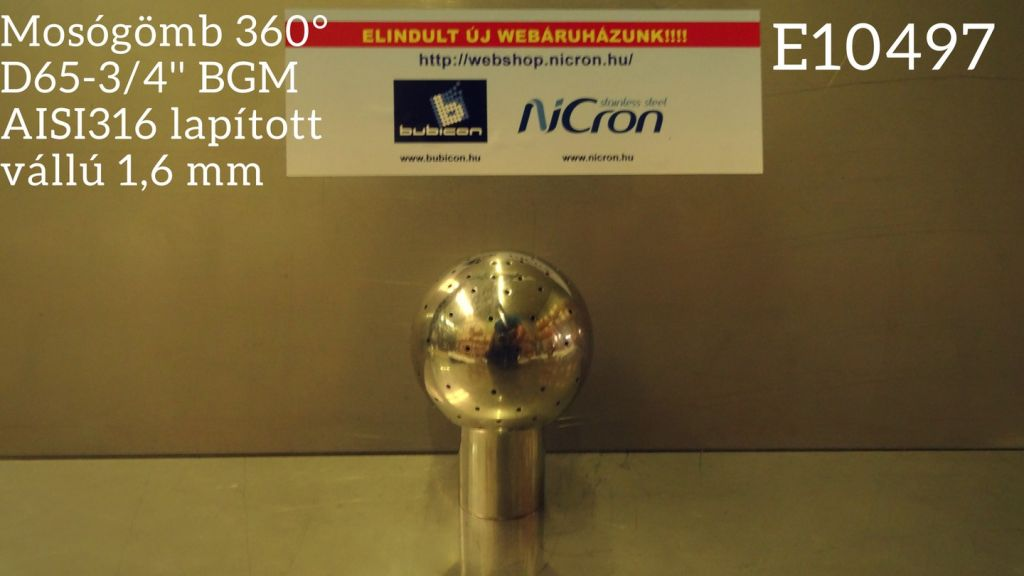 Mosógömb 360° D65-3/4'' BGM AISI316 lapított vállú 1,6 mm