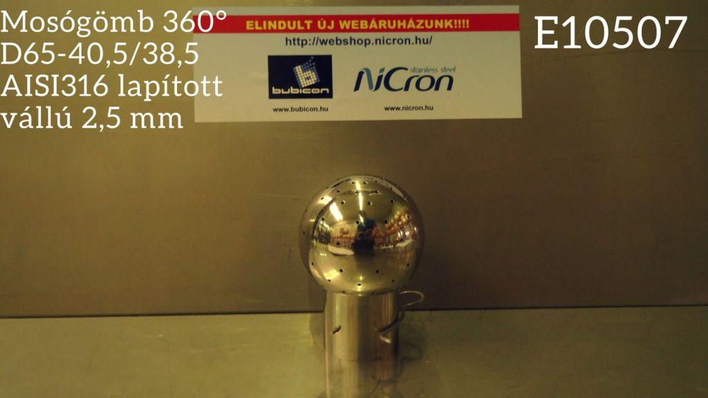 Mosógömb 360° D65-40,5/38,5 AISI316 lapított vállú 2,5 mm