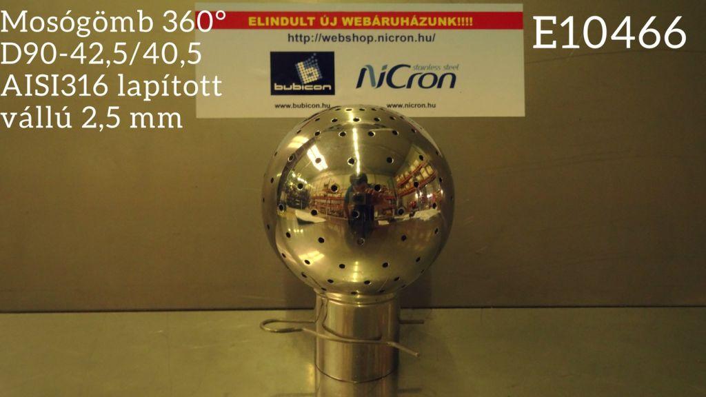 Mosógömb 360° D90-42,5/40,5 AISI316 lapított vállú 2,5 mm