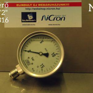 """Nyomásmérő 0-16 bar/1/2"""" D100 AISI316 alsó csatl. csillapított"""