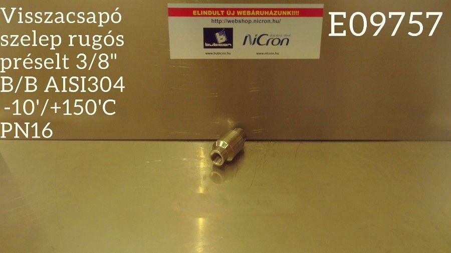 """Visszacsapó szelep rugós préselt 3/8"""" B/B AISI304  -10'/+150'C PN16"""