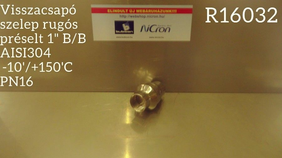 """Visszacsapó szelep rugós préselt 1"""" B/B AISI304  -10'/+150'C PN16"""