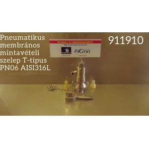 Pneumatikus membrános mintavételi szelep T-tipus PN06 AISI316L