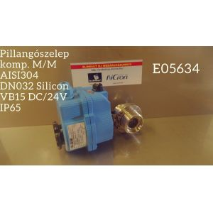 Pillangószelep komp. M/M AISI304 DN032 Silicon VB15 DC/24V IP65
