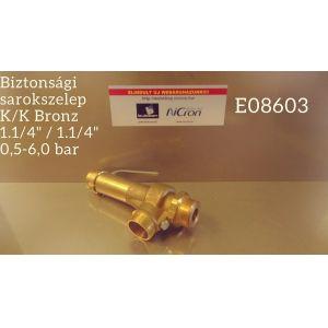 """Biztonsági sarokszelep K/K Bronz 1.1/4"""" / 1.1/4"""" 0,5-6,0 bar"""