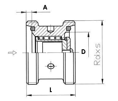 Visszacsapó szelep, rövid beépítésű, menetes / menetes, DIN, rozsdamentes, élelmiszeripari, standard