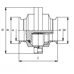 Visszacsapó szelep, két részes, karima testből, clamp/clamp, DIN, rozsdamentes, élelmiszeripari, standard