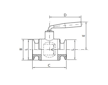 Golyóscsap, clamp / clamp, PTFE, DIN32676, rozsdamentes, élelmiszeripari