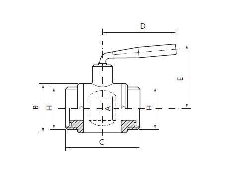 Golyóscsap élelmiszeripari DIN AISI304 M/M (DN040)