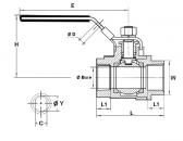 Golyóscsap 2 részes, belső gázmenet / belső gázmenet, rozsdamentes, ipari