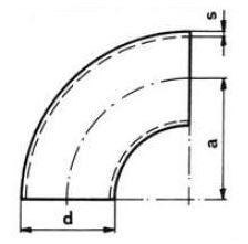 Ív varratos 90' DIN2605, R=1,5xD, rozsdamentes, ipari