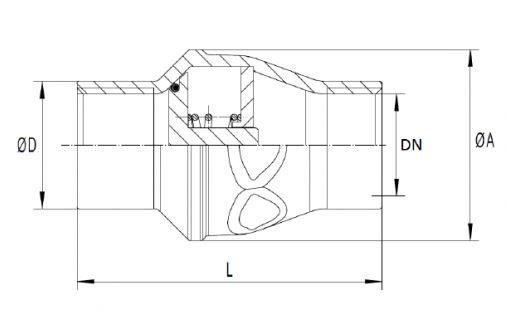 Visszacsapó szelep rúgótányéros, belső gázmenet / belső gázmenet, egyenes, 1 részes, rozsdamentes, ipari
