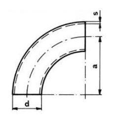 Ív varratos 90' DIN2605, R=3xD, rozsdamentes, ipari