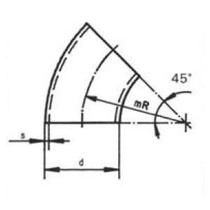 Ív 45' DIN11852, rozsdamentes, élelmiszeripari, standard, AISI304