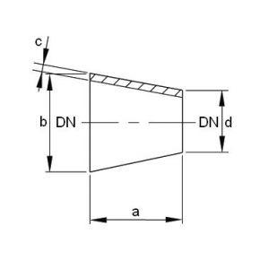 Szűkítő koncentrikus, DIN 11852, rozsdamentes, élelmiszeripari, AISI316L