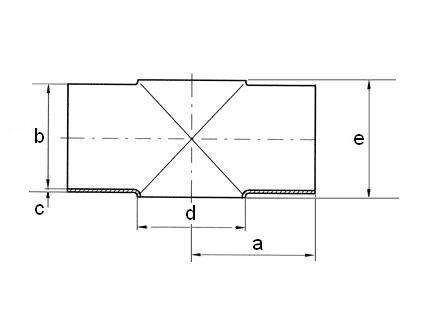 Keresztidom, DIN 11852, rozsdamentes, élelmiszeripari, AISI304L