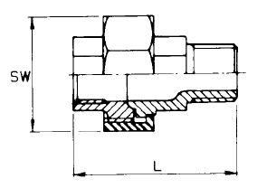 Komplett csavarzat, kúpos belső gázmenet / belső gázmenet, rozsdamentes