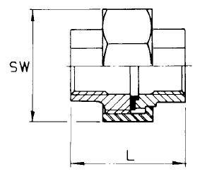Komplett csavarzat, lapos, belső gázmenet / belső gázmenet, rozsdamentes
