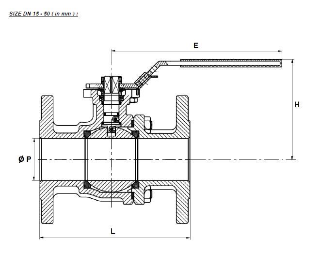Golyóscsap karimás, 2 részes, karima / karima, PN16, rozsdamentes, ipari
