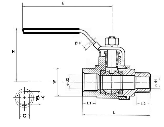 Golyóscsap 2 részes, külső gázmenet / belső gázmenet, rozsdamentes, ipari