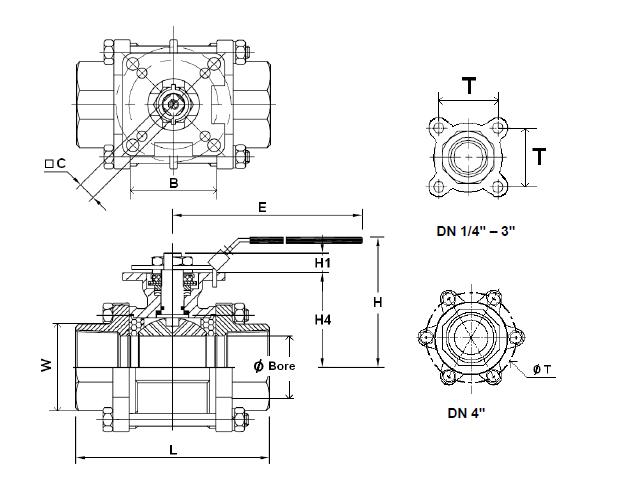 Golyóscsap 3 részes, belső gázmenet / belső gázmenet, konzollal, rozsdamentes, ipari