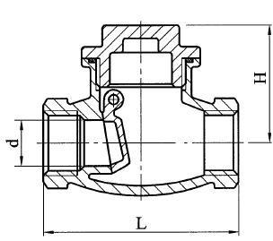 Visszacsapó szelep billenőtárcsás, belső gázmenet / belső gázmenet, rozsdamentes, ipari