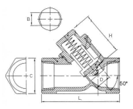 Visszacsapó szelep rúgótányéros, belső gázmenet / belső gázmenet, 45', rozsdamentes, ipari