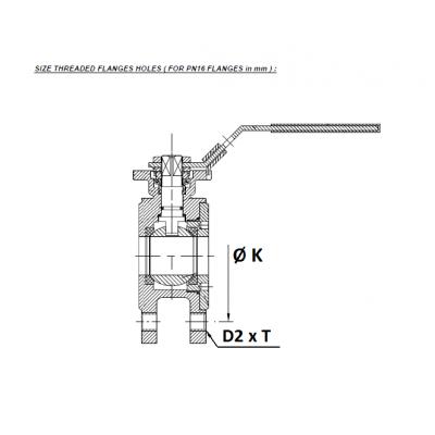 Golyóscsap karima közé építhető, PN16, rozsdamentes, ipari