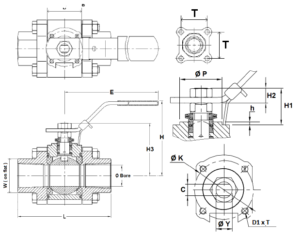 Golyóscsap 3 részes, belső gázmenet / belső gázmenet, tűzbiztos kivitel, rozsdamentes, ipari