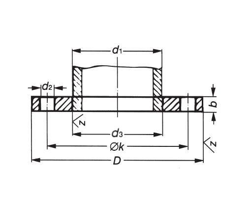 Laposkarima DIN 2573 PN06, DN 350-500, rozsdamentes, ipari