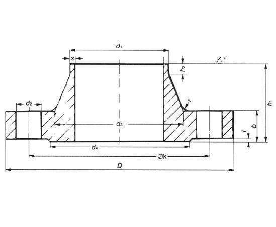 Hegtoldatos karima DIN 2632 PN10 DN350-3000, rozsdamentes, ipari