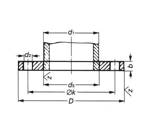 Laposkarima DIN 2576 PN10, DN 300-500, rozsdamentes, ipari