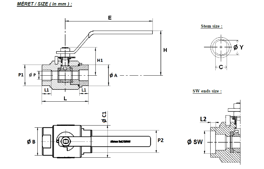 Golyóscsap 2 részes, kovácsolt, A105N CLASS 800, szénacél, ipari
