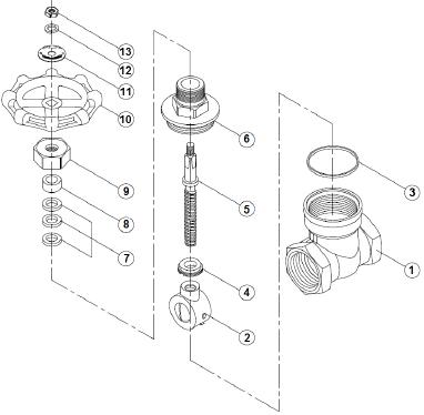 Tolózár, belső gázmenet / belső gázmenet, PN16, rozsdamentes, ipari