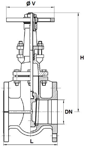 Tolózár, karimás PN16 DIN3202-1 F4, szénacél, ipari
