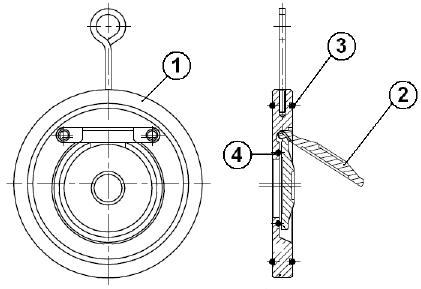 Visszacsapó szelep, billenő tárcsás, karima közé építhető, FKM, rozsdamentes, ipari