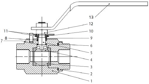 Golyóscsap 2 részes, kovácsolt, F316L CLASS 800, rozsdamentes, ipari