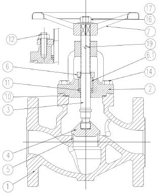Áramlásszabályzó szelep, karimás, PN40 ICP DIN3202-1 F1, szénacél, ipari