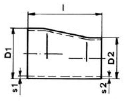 Szűkítő excentrikus, varratnélküli DIN 2616, rozsdamentes, ipari