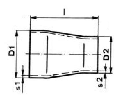 Szűkítő koncentrikus, varratnélküli DIN 2616, rozsdamentes, ipari