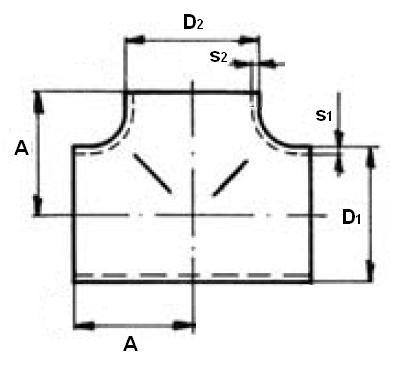 T-idom varratnélküli, húzott EN 10253-3, rozsdamentes, ipari
