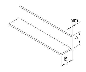 L-profil egyenlő szárú, rozsdamentes