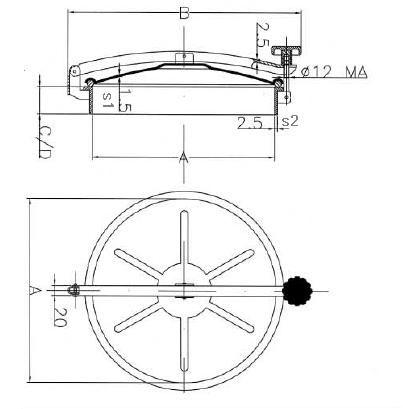 Búvónyílás cementkádra kerek 150 - 600 mm kifelenyíló (D9 C)