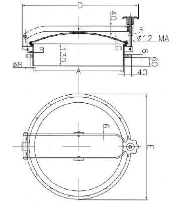 Búvónyílás fahordóra kerek 420 - 600 mm kifelenyíló (D19)