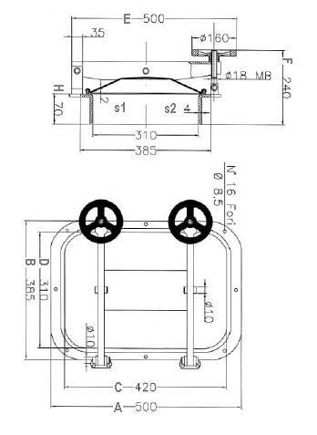 Búvónyílás fahordóra négyszögletes 420x310 mm kifelenyíló (B21)