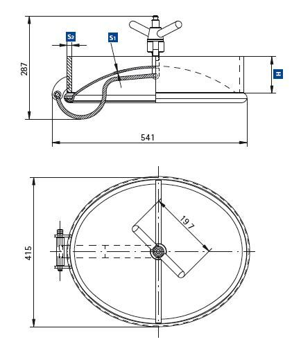 Búvónyílás alsó ovális 440x320 mm nagynyomású befelenyíló (200PES)