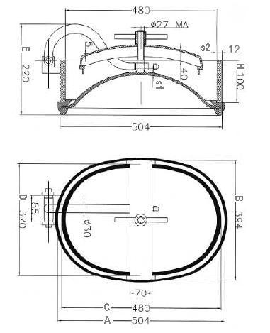 Búvónyílás alsó ovális 440x320 mm nagynyomású befelenyíló (A11)